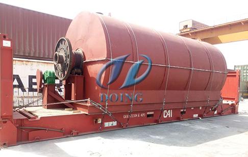 恭喜埃及客户12吨废轮胎炼油设备完成发货