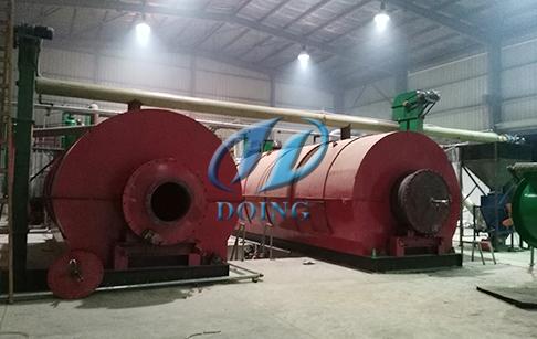 恭喜两台12吨废轮胎炼油设备项目落户埃及