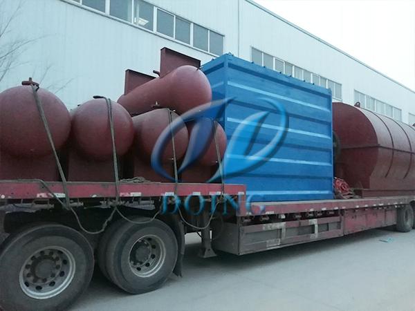 恭喜安徽省客户两台10吨废轮胎炼油设备完成发货